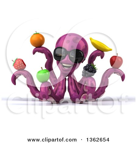 Clipart of a 3d Happy Purple Octopus Wearing Sunglasses and Holding Fruit, on a White Background - Royalty Free Illustration by Julos