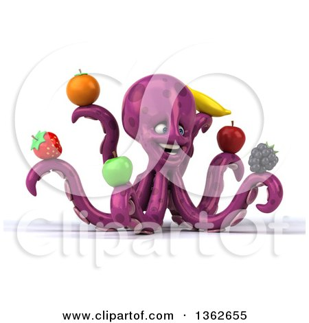Clipart of a 3d Happy Purple Octopus Holding Fruit, on a White Background - Royalty Free Illustration by Julos