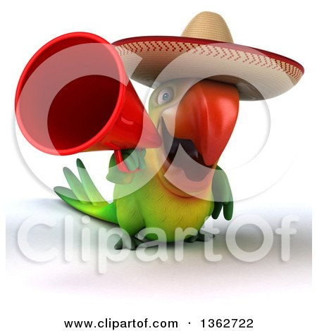 Clipart of a 3d Green Macaw Parrot Wearing a Sombrero and Using a Megaphone, on a White Background - Royalty Free Illustration by Julos