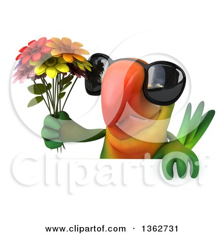 Clipart of a 3d Green Macaw Parrot Wearing Sunglasses and Holding a Bouquet of Flowers over a Sign, on a White Background - Royalty Free Illustration by Julos