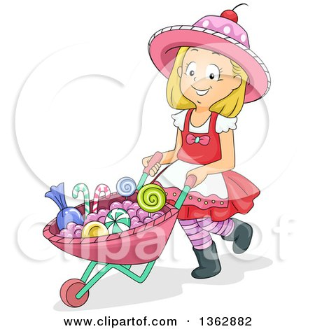 Clipart of a Happy Blond White Girl Pushing Candy in a Wheelbarrow - Royalty Free Vector Illustration by BNP Design Studio