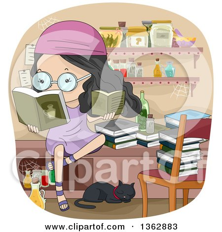 Clipart of a Black Haired Girl Reading Witchcraft Books in a Room with Jars and a Cat - Royalty Free Vector Illustration by BNP Design Studio