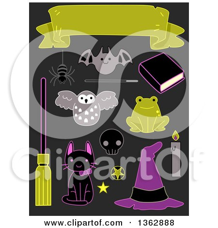 Clipart of Halloween Sticker Style Accessories on Gray - Royalty Free Vector Illustration by BNP Design Studio