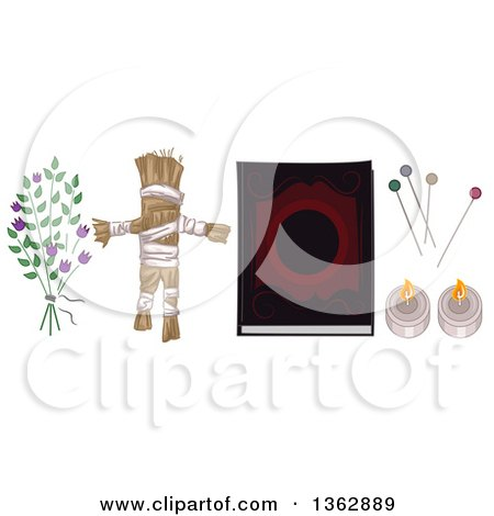 Clipart of a Witchcraft Voodo Herbs, a Doll, Spell Book, Pins and Candles - Royalty Free Vector Illustration by BNP Design Studio