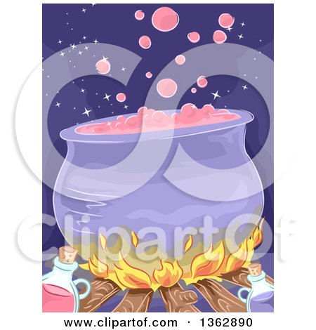 Clipart of a Boiling Witch Cauldron over a Filre, with Potion Bottles - Royalty Free Vector Illustration by BNP Design Studio
