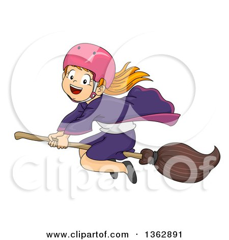 Clipart of a Happy Red Haired White Witch Girl Wearing a Helmet Flying on a Broomstick - Royalty Free Vector Illustration by BNP Design Studio