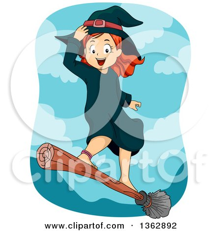 Clipart of a Happy Red Haired White Witch Girl Standing and Flying on a Broomstick - Royalty Free Vector Illustration by BNP Design Studio