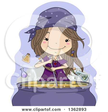 Clipart Of A Happy Brunette White Witch Girl Mixing A Magic Potion Spell In A Cauldron Royalty Free Vector Illustration