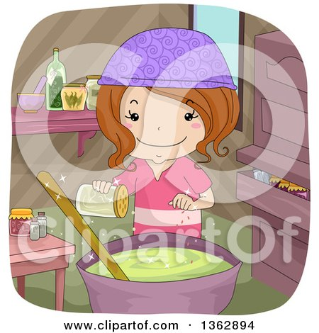 Clipart of a Happy Brunette White Witch Girl Adding Spices to a Soup or Potion Spell - Royalty Free Vector Illustration by BNP Design Studio