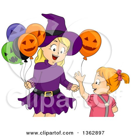 Clipart of a Happy Blond Caucasian Girl in a Witch Fostume, Handing a Halloween Party Balloon to Her Sister - Royalty Free Vector Illustration by BNP Design Studio