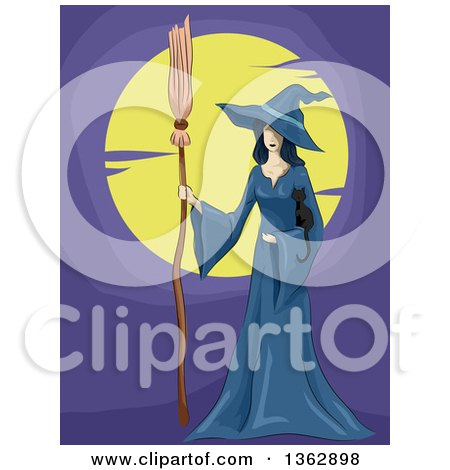 Clipart of a Witch in a Blue Cloak, Holding a Black Kitten and Broomstick Against a Full Moon - Royalty Free Vector Illustration by BNP Design Studio
