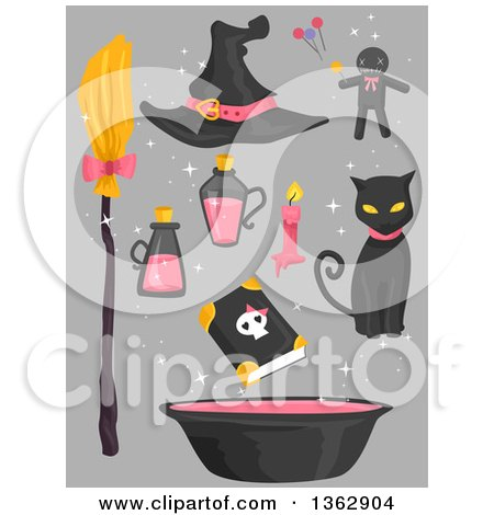 Clipart of Black and Pink Witch Accessories over Gray - Royalty Free Vector Illustration by BNP Design Studio