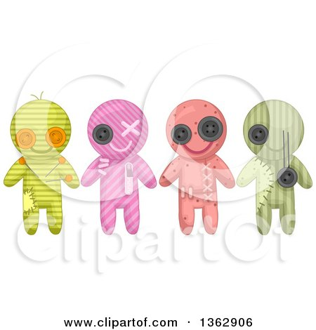 Clipart of Patterned Voodoo Dolls with Stitches - Royalty Free Vector Illustration by BNP Design Studio