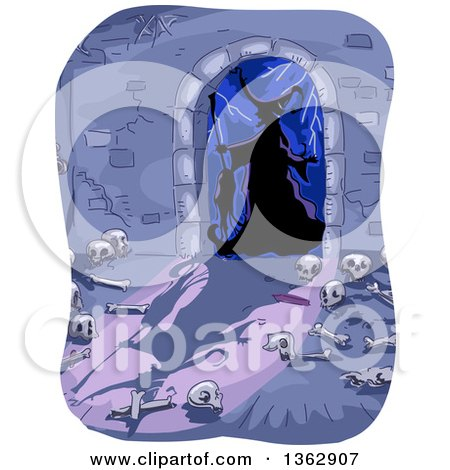 Silhouetted Witch in a Dungeon Entrance Arch, with Bones on the Floor Posters, Art Prints