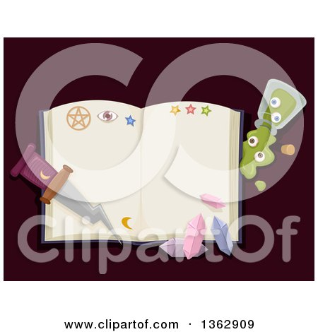 Clipart of a Witch Spell Book with Crystals, a Potion and Dagger - Royalty Free Vector Illustration by BNP Design Studio