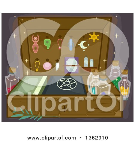 Clipart Of A Witchcraft Or Wizardry Kit With Accessories Potions And Books Royalty Free Vector Illustration