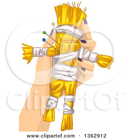 Clipart of a White Hand Holding a Voodoo Doll with Needles - Royalty Free Vector Illustration by BNP Design Studio