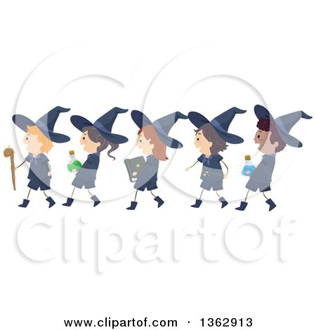 Clipart of Happy Wizard Boys and Witch Girls Walking in Line, Carrying Accessories - Royalty Free Vector Illustration by BNP Design Studio