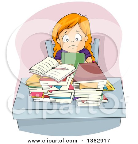 Clipart of a Stressed Red Haired White Girl Sitting at a Desk with Homework and a Pile of Books - Royalty Free Vector Illustration by BNP Design Studio