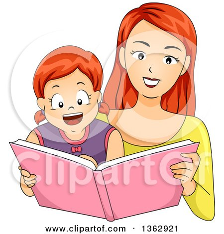 Clipart of a Happy Red Haired Caucasian Mother Reading a Story Book to Her Daughter - Royalty Free Vector Illustration by BNP Design Studio