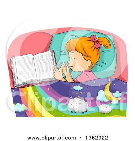 Clipart of a Red Haired Caucasian Girl Sleeping by an Open Book, Dreaming of Sheep on a Rainbow - Royalty Free Vector Illustration by BNP Design Studio