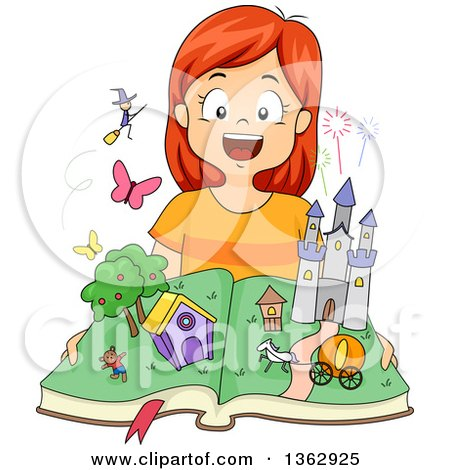 Clipart of a Happy Red Haired Caucasian Girl Opening a Fairy Tale Pop up Book with Witches and Castles - Royalty Free Vector Illustration by BNP Design Studio