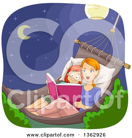 Clipart of a Caucasian Mother and Daughter Sitting in a Hammock at Night and Reading a Story Book - Royalty Free Vector Illustration by BNP Design Studio