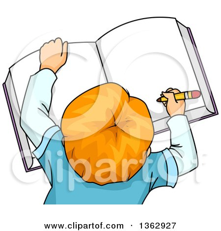 Clipart of an Aerial View of a Red Haired White School Boy Writing in a Book - Royalty Free Vector Illustration by BNP Design Studio