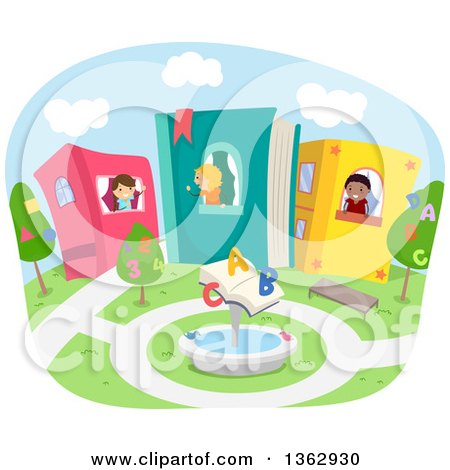 Clipart of Stick School Children in Book Houses, with an Alphabet and Number Court Yard - Royalty Free Vector Illustration by BNP Design Studio