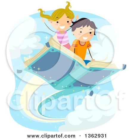 Clipart of a Caucasian Boy and Girl Flying on a Book - Royalty Free Vector Illustration by BNP Design Studio
