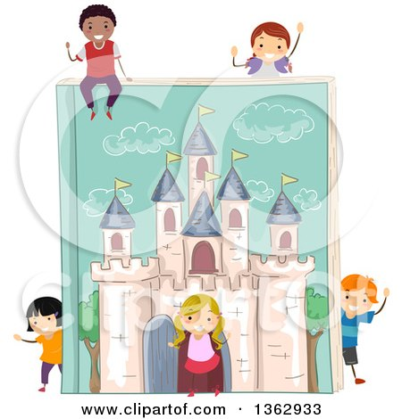 Clipart of a Giant Fantasy Castle Book with Children - Royalty Free Vector Illustration by BNP Design Studio