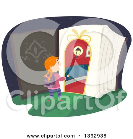 Clipart of a Red Haired White Girl Entering a Magic Book - Royalty Free Vector Illustration by BNP Design Studio