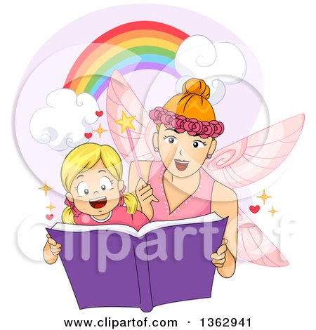 Clipart of a Blond White Girl Reading a Book with a Fairy - Royalty Free Vector Illustration by BNP Design Studio