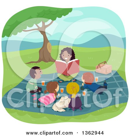 Clipart of a Happy Black Female Teacher Reading to Students Outdoors - Royalty Free Vector Illustration by BNP Design Studio