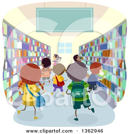 Clipart of School Children in a Book Store or Library - Royalty Free Vector Illustration by BNP Design Studio
