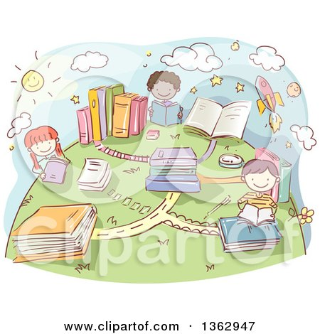 Clipart of Sketched School Children with Book Roads on a Globe - Royalty Free Vector Illustration by BNP Design Studio