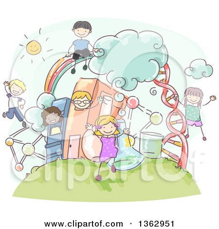 Clipart of Sketched School Children over Science Items and Books - Royalty Free Vector Illustration by BNP Design Studio