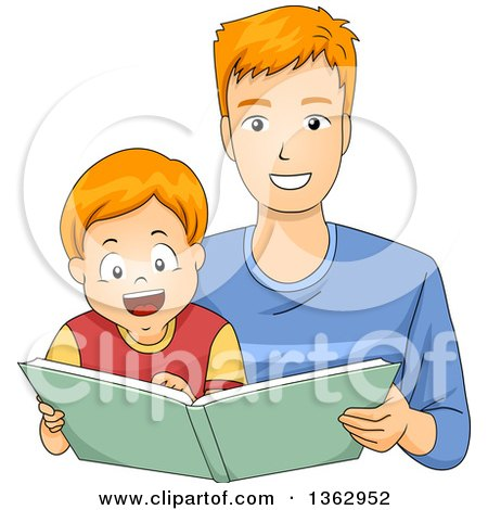 Clipart of a Happy Red Haired White Boy Reading a Story Book with His Dad - Royalty Free Vector Illustration by BNP Design Studio