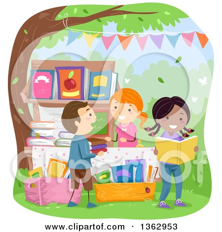 Clipart of Children Shopping for Books at a Yard Sale - Royalty Free Vector Illustration by BNP Design Studio