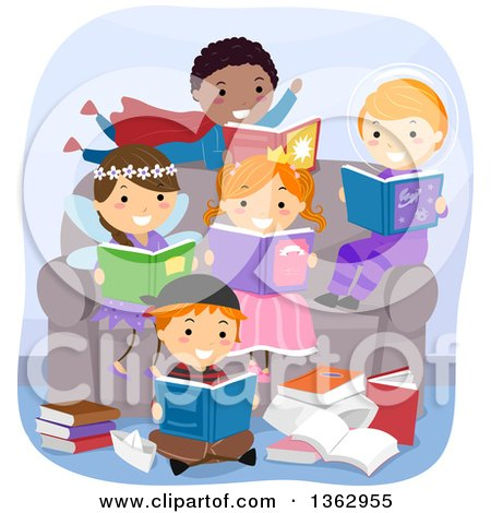 Clipart of a Group of Children in Costumes, Sitting on and Around a Chair and Reading Fantasy Books - Royalty Free Vector Illustration by BNP Design Studio