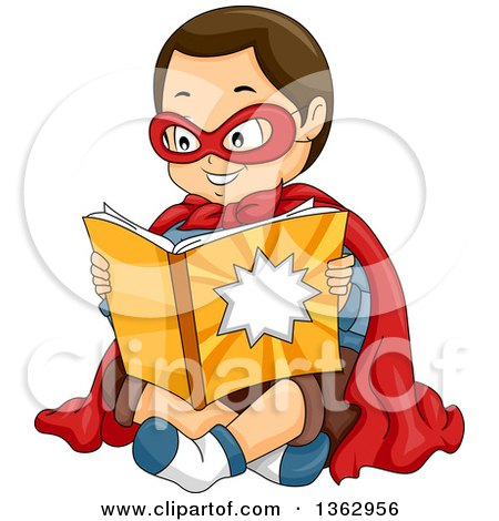 Clipart of a Happy Brunette Caucasian Boy in a Super Hero Costume, Sitting and Reading a Comic Book - Royalty Free Vector Illustration by BNP Design Studio