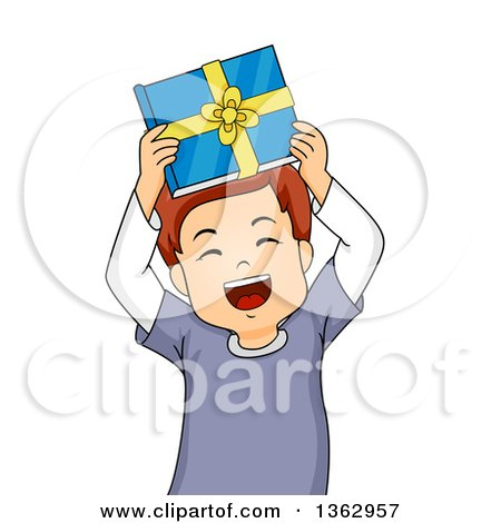 Clipart of a Happy Brunette Caucasian Boy Holding up a Book Gift and Cheering - Royalty Free Vector Illustration by BNP Design Studio