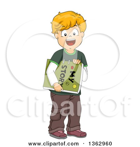 Clipart of a Happy White Boy Holding a Home Made Story Book - Royalty Free Vector Illustration by BNP Design Studio