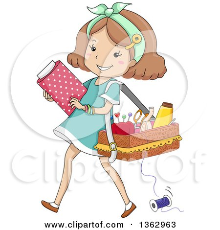 Clipart of a Happy Brunette White Girl Carrying Fabric and a Sewing Basket - Royalty Free Vector Illustration by BNP Design Studio
