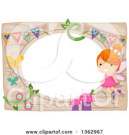 Clipart of a Red Haired White Fairy Girl over a Whimsical Garden Frame - Royalty Free Vector Illustration by BNP Design Studio