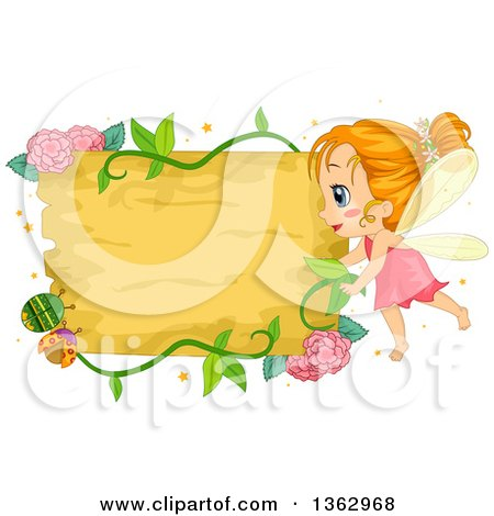 Clipart of a Red Haired Female Fairy Girl with a Flora Vine and Beetle Sign - Royalty Free Vector Illustration by BNP Design Studio