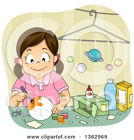 Clipart of a Happy Brunette White Girl Painting a Solar System Model Project - Royalty Free Vector Illustration by BNP Design Studio