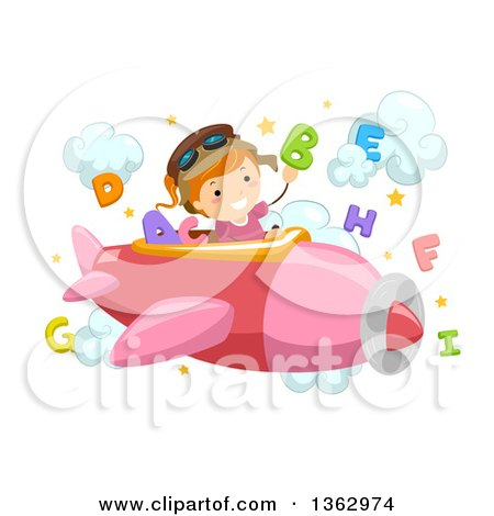 Clipart of a Happy Red Haired White School Girl Pilot Flying a Plane with Alphabet Letters - Royalty Free Vector Illustration by BNP Design Studio