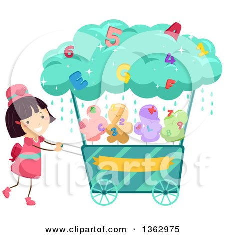 Clipart of a Happy Brunette White Girl Pushing a Cotton Candy Alphabet and Number Cart - Royalty Free Vector Illustration by BNP Design Studio