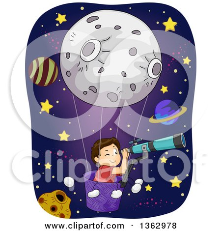 Clipart of a Brunette White Boy in a Moon Hot Air Balloon, Looking Through a Telescope in Outer Space - Royalty Free Vector Illustration by BNP Design Studio